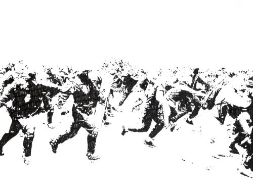 Emmanuel Regent, _Cours plus vite_, 2013, feutre a encre pigmentaire sur papier, 30 x 40 cm