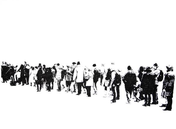 Emmanuel Regent, %22La file d'en bas%22, 2013, feutre a encre pigmentaire sur papier, 56 x 76 cm, 72dpi