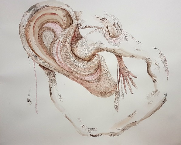 Maro Michalakakos, Head Over Heels#3, 1.68x1.45m, aquarelle sur papier, 2018
